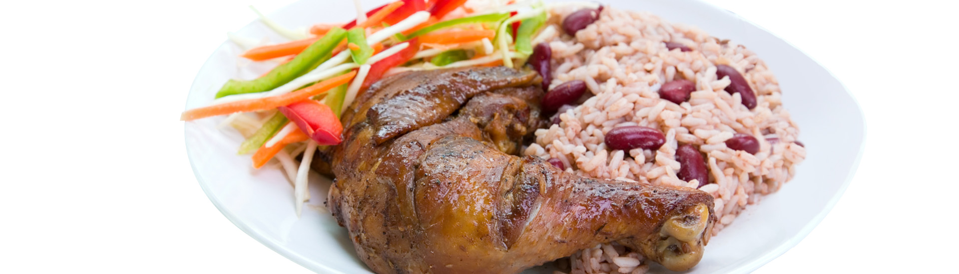 Caribbean Style Jerk Chicken Served with Rice Mixed